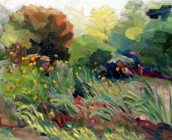 Chanticleer Garden Cosmos  En plein air oil painting.