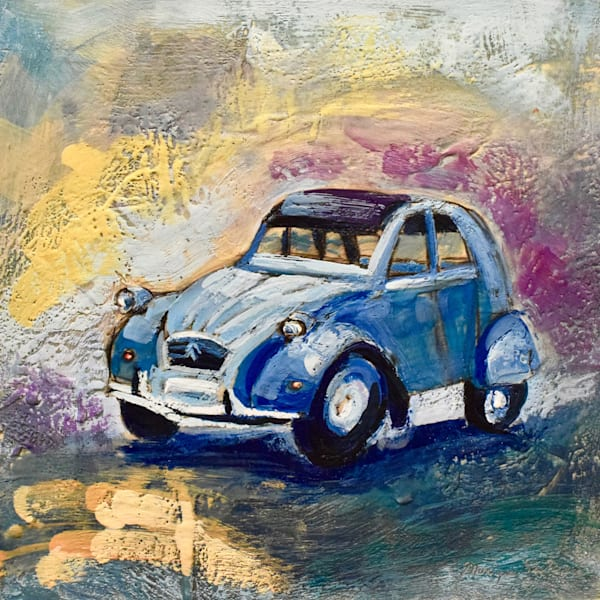 Plein air painting from my travels in France. Encaustic wax and mixed media painting on wood of a vintage french blue Deux Chevaux car.