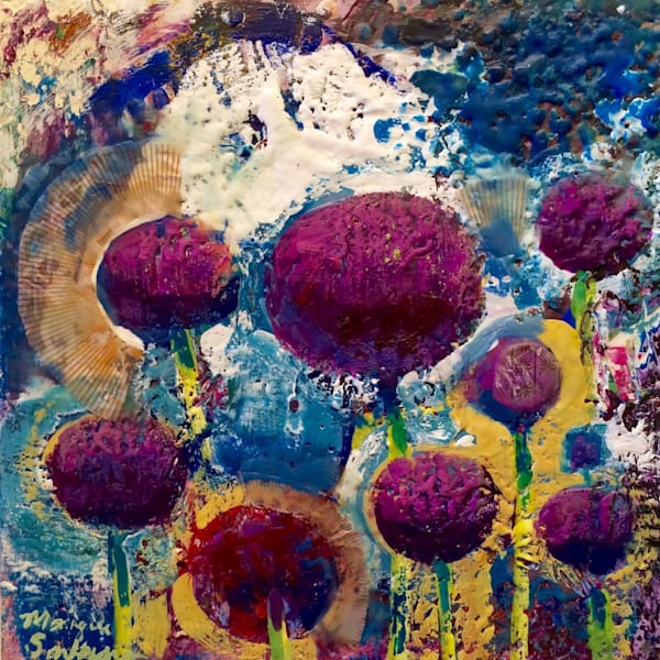 purple flowers floral allium encaustic wax and mixed media painting on wood