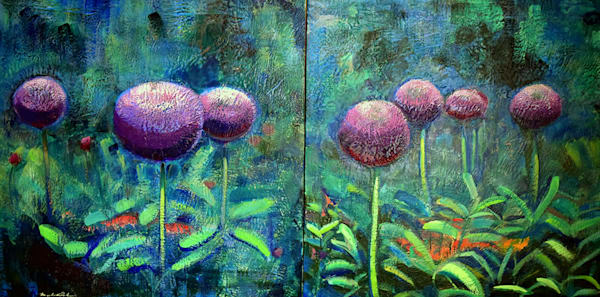"Original encaustic wax landscape painitng ""Chanticleer Aliium Garden 3 & 4 Diptych"" by Monique Sarkessian. Purple flowers floral allium encaustic wax and mixed media painting on wood, 30""x60""."