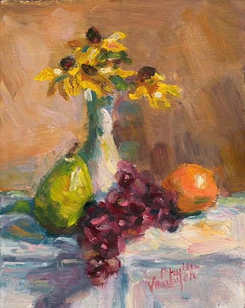 Flowers and Fruit fine art print by Phyllis Verhyen.
