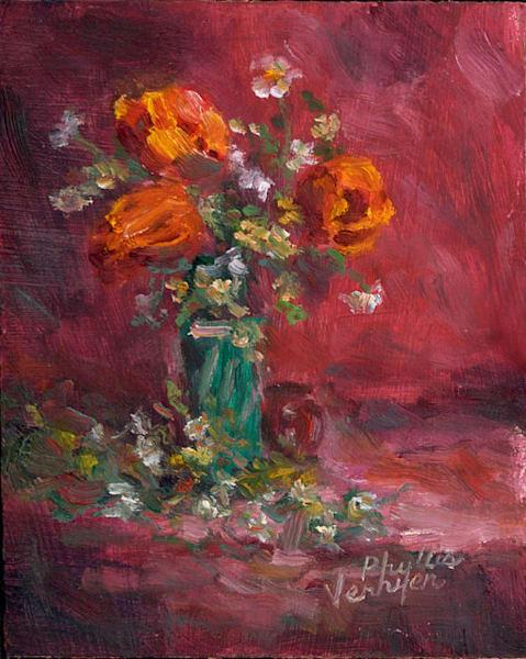 Daisys and Poppies fine art print by Phyllis Verhyen.