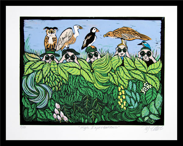 fun bird watching linocut by Printmaker Mariann Johansen-Ellis with green leaves and different birds, art, paintings