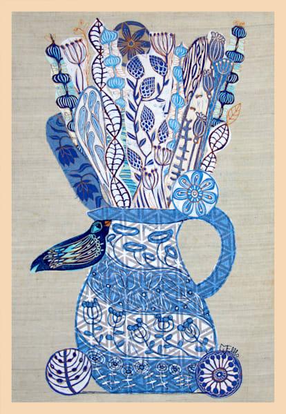 Blue Birds Wish   Linocut Collage On Fabric Art   mariannjohansen-ellis