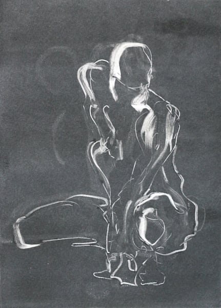Gesture Figure Black and White Monoprint