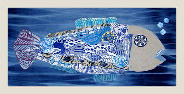 Big Blue - linocut collage on fabric