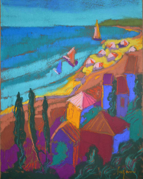 Cinque Terre Sailboats Art Print, Pastel by Dorothy Fagan