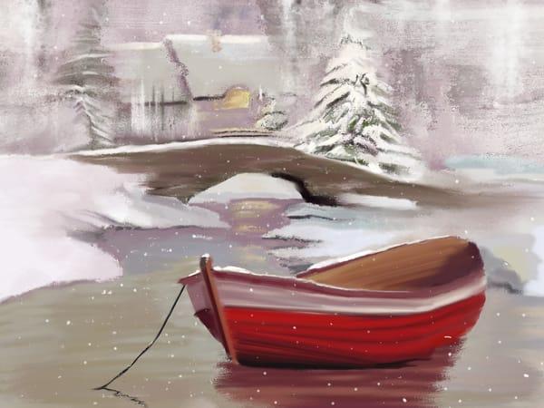 Christmas Village Boat Art   Dave Fox Studios