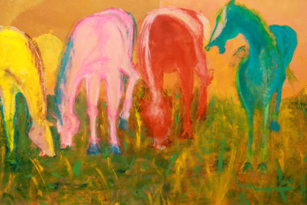 Three Horses Grazing Art | Pam White Art