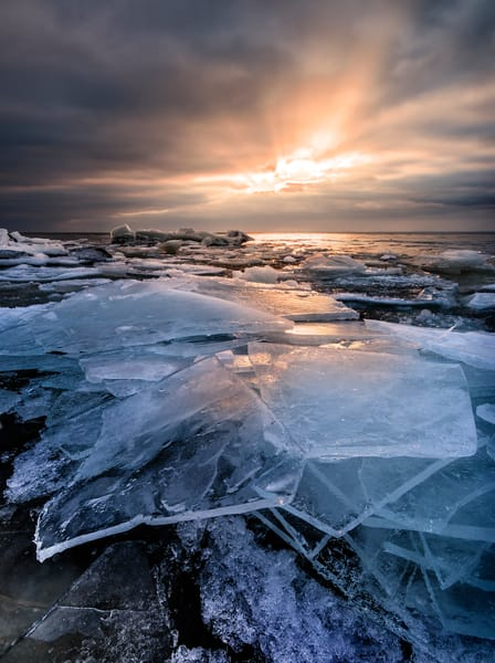 Shattered Ice along Lake Superior at sunrise