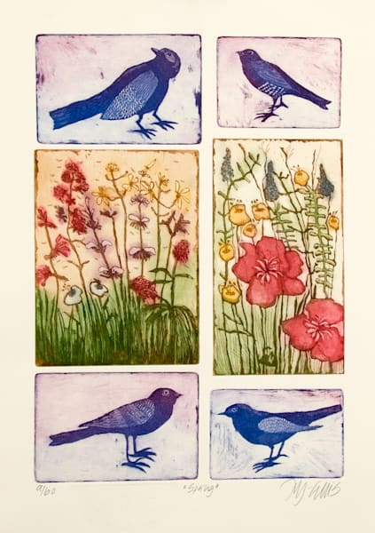 spring flowers and songbirds in a pastel gorgeous aquatint etching made from 6 copper plates printed together by printmaker Mariann Johansen-Ellis, art, paintings