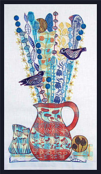 a red jug full of wildflowers with blue birds in this linocut collage, a mixed media art work by printmaker Mariann Johansen-Ellis, art, paintings