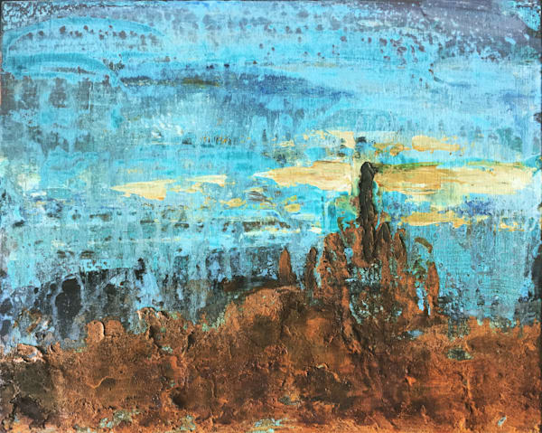 Ashes and diamonds abstract landscape painting in reactive metals