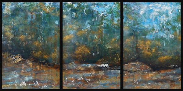 Whose Woods abstract landscape painting in three panels
