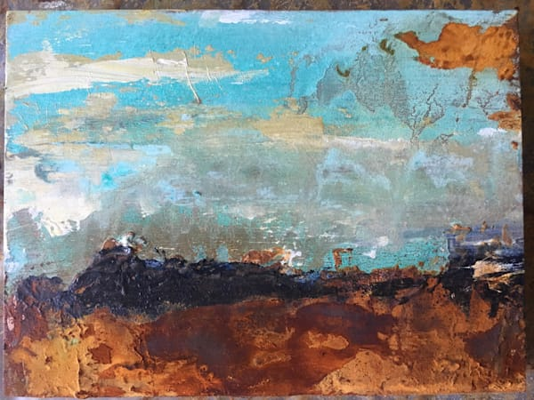 Landlocked Blues original abstract landscape painting