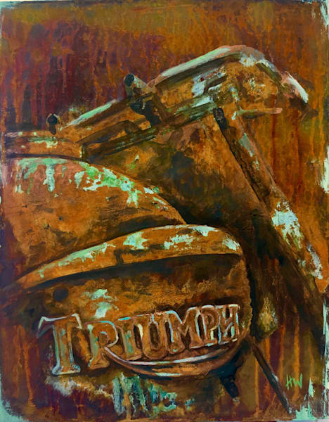 Triumph, original abstract painting in reactive metals