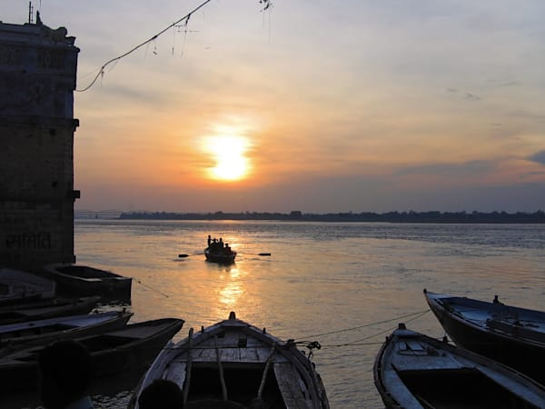 Sunrise Along the Ganges in Bodhgaya