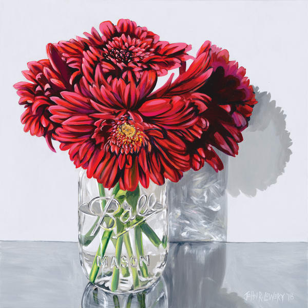 Original painting of red gerber daisies in a mason jar for sale as art prints.