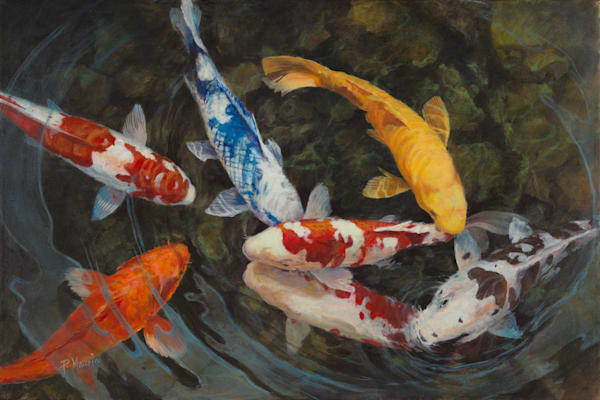 Art, Paintings, Fish, water, light, salmon, river