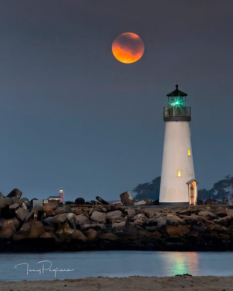 Moonset over Lighthouses