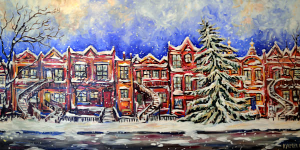 Painting of snow and tranquility in Montreal from Kameli Fine Art