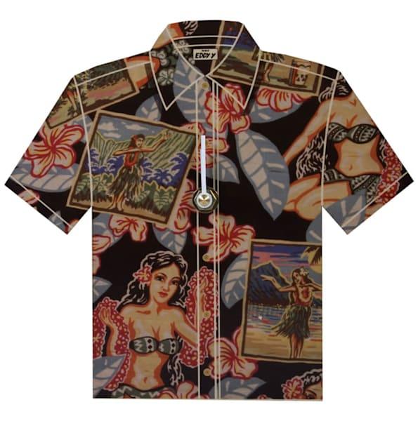 Vintage Hula Girl Aloha Shirt Clock