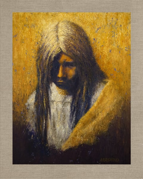 Zosh Clishn Apache Girl, Native American Portrait, Oil Painting by Mark Kashino