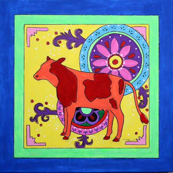 Mexican Folk Art Cow, Original Painting of a Dow, Fine Art and Paintings for Sale by Teena Stewart of Serendipitini Studio