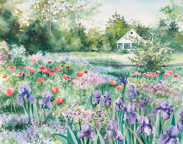 Iris & Poppy Garden fine art print by Stacey Small Rupp.