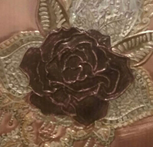 Vintage Rose Repoussé in pure copper art decór.