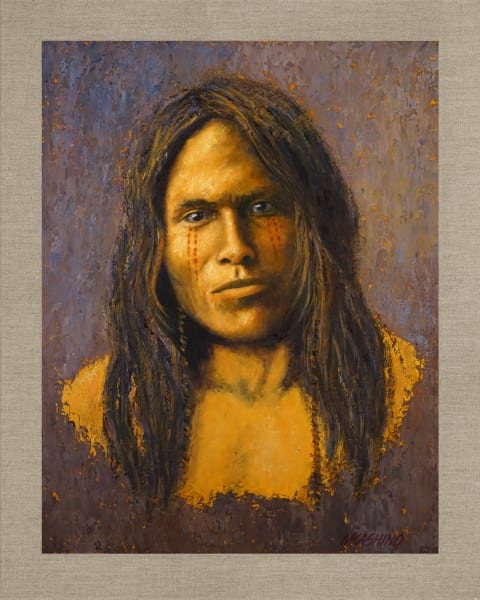 Vapore Piegan, Native Americans, American Indians, Portraits, Oil Paintings, Mark Kashino