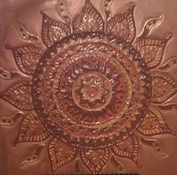Sun Mandala Copper Wall Art. Spiritual Copper Repoussé Wall Décor by Adria