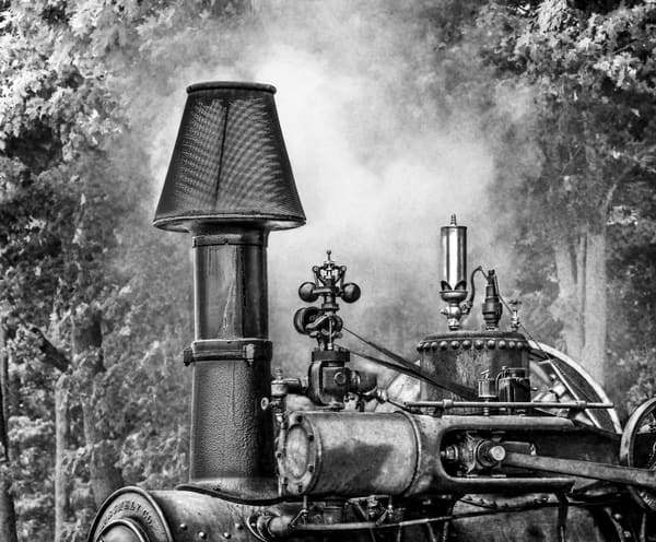 M Rumely Smoke Stack Closeup with White Steam Traction Engine Black and White fleblanc