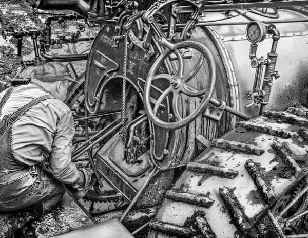 Checking The Fire Minneapolis Compound Piston Steam Engine Black and White fleblanc