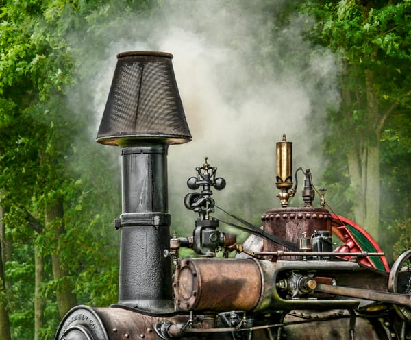 M Rumely Smoke Stack Closeup with White Steam Traction Engine fleblanc