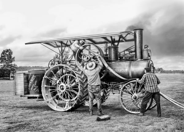Belting An Advance Steam Powered Traction Engine Antique Black and White fleblanc
