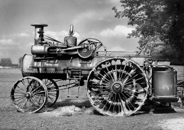 Rumely Steam Tractor In Working Clothes at Darke County Show Black and White fleblanc