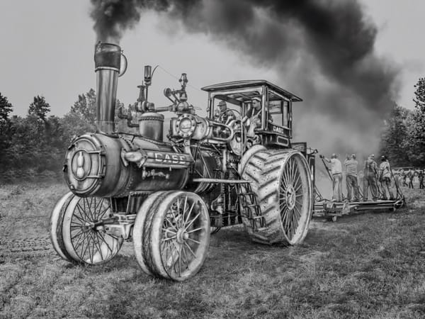 Case 110 HP Steam Traction Engine Plowing Black Smoke Black and White fleblanc