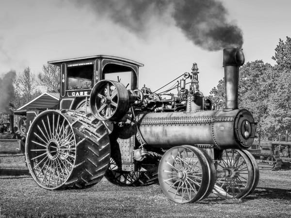 Rare JL Case 110 HP Steam Powered Tractor Antique Farming Black and White fleblanc