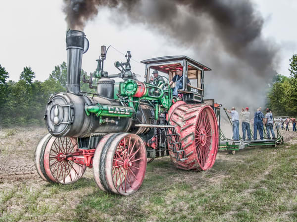 Case 110 HP Steam Traction Engine Plowing Black Smoke fleblanc