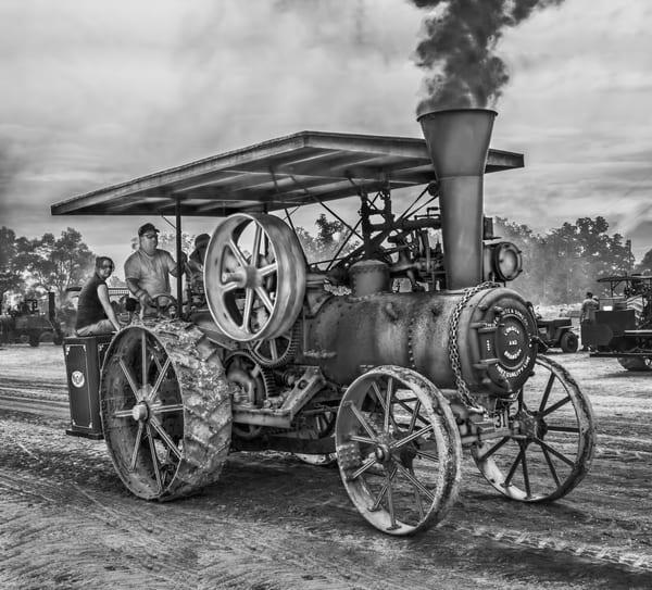Vintage Restored Geo White Steam Powered Traction Engine Black and White fleblanc