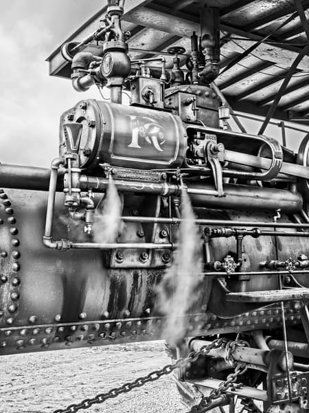 Closeup Vintage Russell Steam Powered Tractor Venting Steam Black and White fleblanc