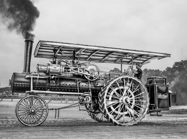 Beautiful Restored Port Huron Steam Powered Traction Engine Black and White fleblanc