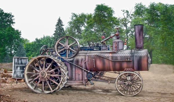 Rumely Steam Powered Traction Engine In Working Clothes Unrestored fleblanc