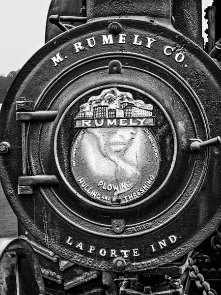 Rumely Steam Powered Traction Engine Emblem Boiler Door Black and White fleblanc