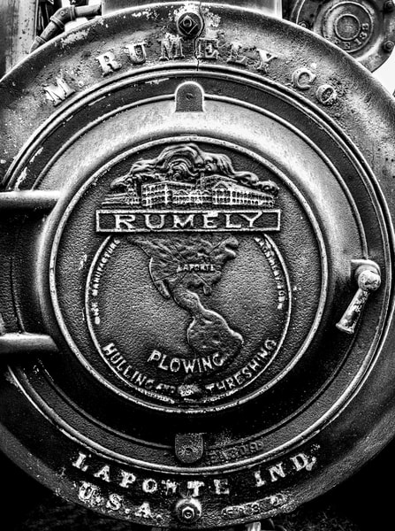 Antique Rumely Steam Traction Engine Emblem Boiler Door  Black and White fleblanc