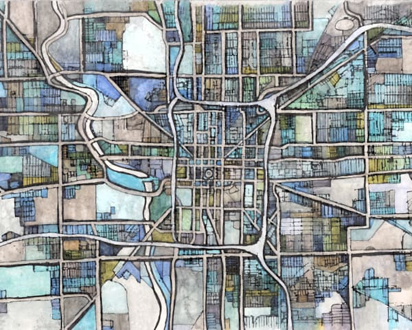 Contemporary City Print - Abstract Map of Indianapolis IN.  Gift Ideas | Midwest City | Housewarming Gift | Office Art