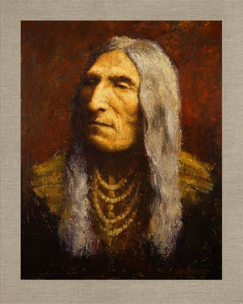 Double Runner Cheyenne, Native Americans, American Indians, Portraits, Oil Paintings, Mark Kashino