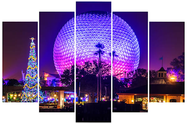 Epcot Christmastime - 5-Piece Disney Canvas Wall Art - | William Drew