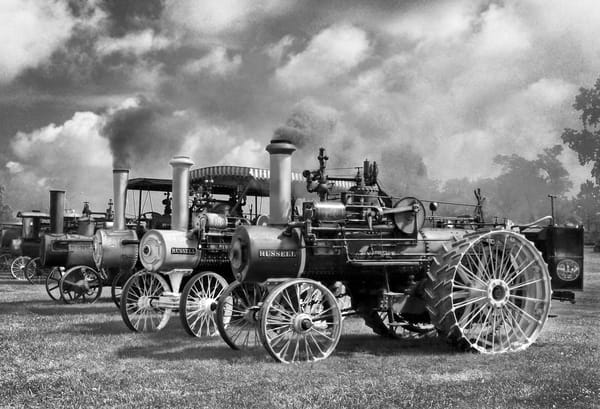 Row of Russell Steam Powered Traction Tractors Farm Restored Black and White fleblanc